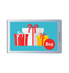 Showing of buying nice colourful presents online vector