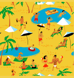 summer beach people seamless pattern tropical vector image vector image