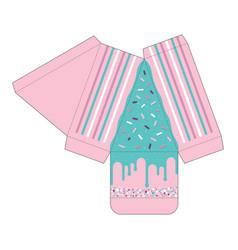 cake slice box cutout template favor box vector image vector image
