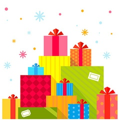 Christmas of the piles of presents on white vector image