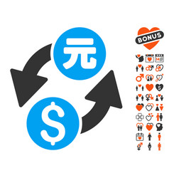 dollar yuan exchange icon with lovely bonus vector image