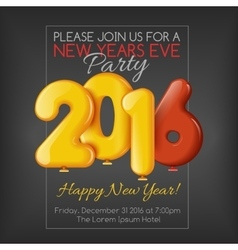 Invitation to New Year party with balloons vector image vector image