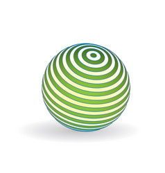 3d striped ball logo sphere with lines green vector image