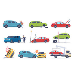 accident on road car damaged vehicle insurance vector image