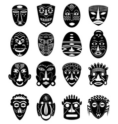 Africa tribal mask icons set vector