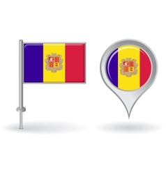 Andorran pin icon and map pointer flag vector image