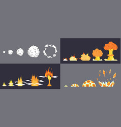 animation explosion effect in cartoon comic vector image