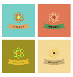 Assembly flat icons biology molecule atom vector