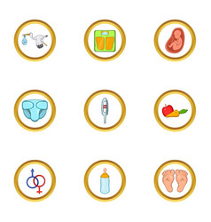 Baby period icon set cartoon style vector
