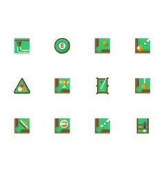 Billiard online square flat icons set vector image