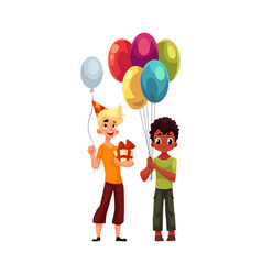 Black little boy with balloons caucasian teenager vector