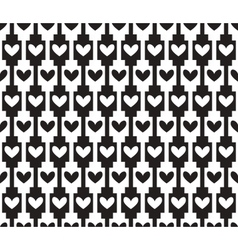 black seamless background pattern with hearts vector image