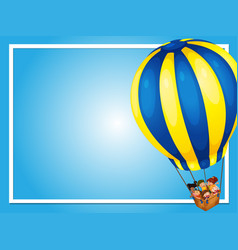 Border template with kids in balloon vector