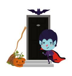 Boy with dracula costume and bats flying in door vector