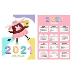 bull white bull calendar or a4 planner for 2021 vector image