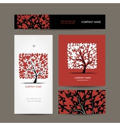 Business cards design with love tree vector image