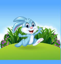 Cartoon bunny running in the jungle vector