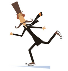 Cartoon mustache man in the top hat a skater vector