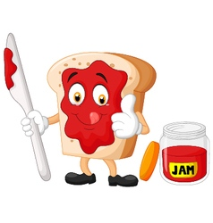 Cartoon slice of bread with jam giving thumbs up vector