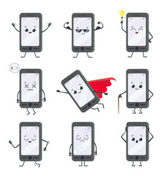 cartoon smartphone character mobile phone mascot vector image