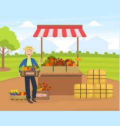 cheerful male farmer selling fresh organic vector image