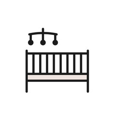 Children bed with rattles flat color icon vector