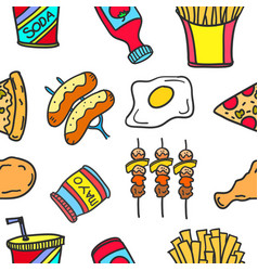 Collection stock of food various doodles vector