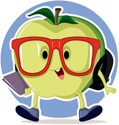 cute apple going back to school mascot vector image