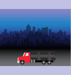 Delivery truck on city vector