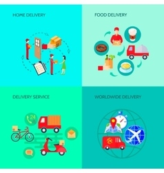 Delivery Variants Flat Set vector