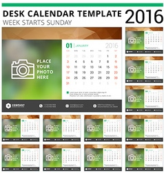 Desk calendar 2016 design template set of 12 vector