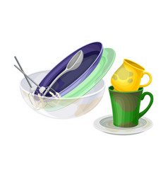 Dirty utensils and dishes piled for washing up vector