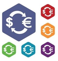 Dollar-euro exchange icon hexagon set vector