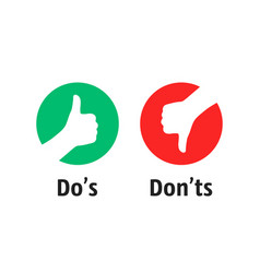 dos and donts like thumbs up or down vector image