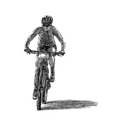 drawing bicycle competition hand draw vector image