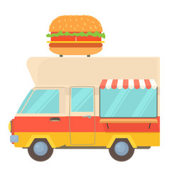 Fast food trailer with burger icon cartoon style vector