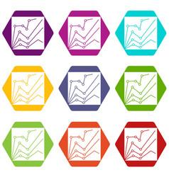 financial statistics icon set color hexahedron vector image