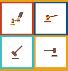 Flat icon court set of tribunal hammer legal and vector