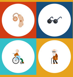 Flat icon cripple set of spectacles audiology vector
