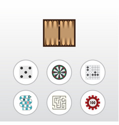 Flat icon play set of backgammon gomoku vector