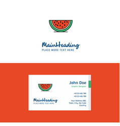 flat water melon logo and visiting card template vector image