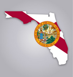 florida fl state map shape with flag and seal vector image