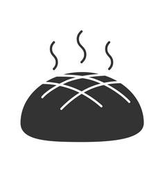 Fresh round rye bread loaf glyph icon vector