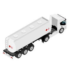 gasoline tanker or oil trailer truck isometric vector image