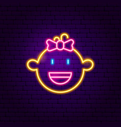 girl face neon sign vector image