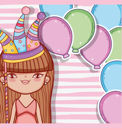 Girl wearing party hat and balloons decoration vector