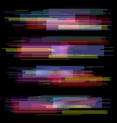 glitch elements set digital pixel noise color vector image vector image