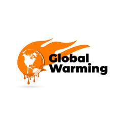 Global warming logo global warming earth globe vector
