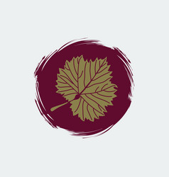 gold grape leaf on round burgundy background vector image