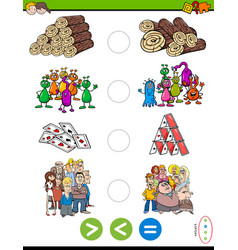greater less or equal cartoon puzzle game vector image